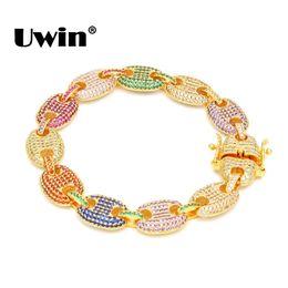 Cadena de grasa online-Uwin Hiphop 13mm Puffed Marine Chain Fat Links Pulsera Hombres Micro Pave Rainbow Coloured Zirconia cúbica Silver / Gold Color Jewelry