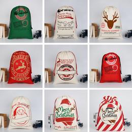 Kız Noel Hediye Çanta 31 Renkler Moda Büyük Ağır Tuval Şeker Çanta Yaratıcı Çocuklar Santa İpli Çanta TTA1556 cheap drawstring handbags nereden kanca ipliği çantaları tedarikçiler