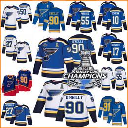 Camisas de hóquei nhl on-line-2019 Stanley Cup Campeões jersey St. Louis Blues 50 Binnington Schwartz 90 Ryan O'Reilly Colton Parayko Schenn 91 Vladimir jérsei do hóquei