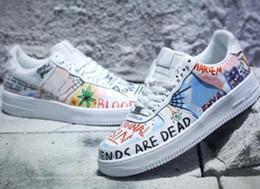 Grafiti personalizado online-Buena calidad Force Low One Graffiti Blanco Diseñador de múltiples colores Zapatillas de deporte Personalizar su colaboración Pauly Sneakers con caja