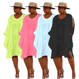 Abiti a lunga ginocchio online-4XL nuove donne estate o-neck abiti tre quarti cut out manica a pipistrello sciolto al ginocchio camicette e camicie vestito a metà polpaccio vestidso