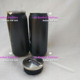 Botellas de agua de moda online-Marca de moda Vasos de acero inoxidable Vacío con aislamiento deportivo Paja de agua Botella de metal Tazas con tapa de vacío