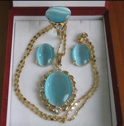 Canada bijoux fine dame 18kgp incrusté jade bleu collier boucle d'oreille Offre