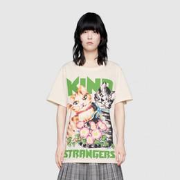 Camisas do rei do algodão on-line-19ss Verão De Luxo Europa Itália Gato E Flor Rei Estranhos Tshirt Moda Masculina Das Mulheres T Camisa de Algodão Casual Tee Top