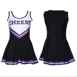 Uniforme feminino preto sexy on-line-Xs-xxl sexy feminino cheerleading trajes clube negro de basquete jogo de futebol dress uniformes de lingerie de lala flor mostrar nova roupa na moda