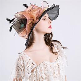 Cappello da sposa estivo online-Moda estate sole cappelli per le donne eleganti cappelli da donna Fascinator Bridal Wedding Hat
