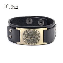 pingentes de pentagrama Desconto Minha forma Tetragrammaton pentagrama pentagrama pulseira de couro pulseiras para homens presente amuleto talismã Wiccan pingentes jóias