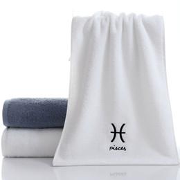 toallitas para adultos Rebajas 75 * 35 cm 100% algodón toalla de pelo bordado creativo 12 constelaciones baño toalla baño gimnasio toallas adultos toallitas de cara personalizados