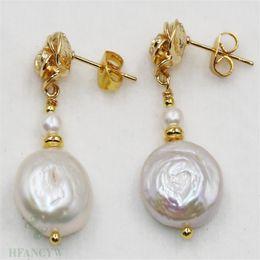 14-15 mm ROSE Perle Baroque Boucles d/'oreilles argent crochet naturel Dangler Mariage