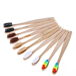 Canada Brosse à dents naturelle en bambou avec arc-en-ciel coloré blanchissant les poils doux Brosse à dents en bambou écologique qui prend soin de la bouche DLH094 Offre