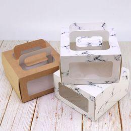 cajas de liquidación Rebajas Ventana Cajas de galletas Portátil Cuatro pulgadas Marmoleado Viento Frío Estampado Caliente Pastel de Queso Caja Para Hornear Envoltura de Regalo 0 65ytE1
