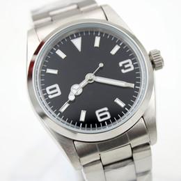 Égratignures en acier inoxydable en Ligne-36MM automatique Mens Watch fixe dôme en acier inoxydable lunette résistant à la rayure marqueurs Hardlex minute minute autour de la jante