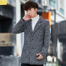 2019 pátio de pano Outfit pano casaco novo dos homens cultivar a moralidade curto espessamento de lã pano casaco poeira de não pequenos metros tendência pátio de pano barato