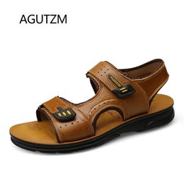new popular sandals Coupons - AGUTZM 1808 New Summer Breathable Cow Leather Men's Beach Sandals Fashion Popular Hook & Loop Genuine Leather Men Sandal Shoes