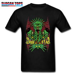Étoiles chemises hip hop en Ligne-Zombie Star T-shirt Homme Hip Hop T-shirt Halloween Cosplay Hauts coton noir T-shirts Vêtements d'impression vert Walking Dead