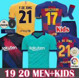 2019 treino de nova iorque Novas fontes 2019 2020 Soccer Jersey Barcelona Camisetas de Fútbol MEN KIDS 19 20 Barca Messi Arthur DE JONG GRIEZMANN Futebol shirt Conjuntos