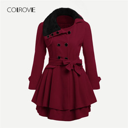 2019 cintura invernale COLROVIE Plus Size Burgundy Ruffle con cintura  Double Layered Winter Faux Fur Coat 3ced8d08693
