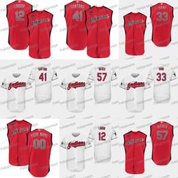 Indiano de beisebol on-line-57 Shane Bieber 2019 All-Star Americana 12 Francisco Lindor 33 Brad Mão 41 Carlos Santana Indians Baseball Jerseys