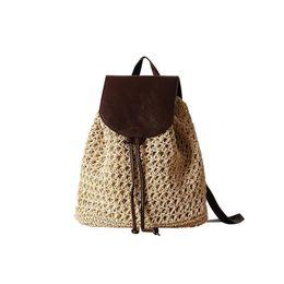 Palhas da escola on-line-Capa de couro Mochila de Palha Tecido de Praia Saco de Escola de Férias Saco de Viagem Moda Vintage Boho Crochet Saco de Moda Natural das Mulheres