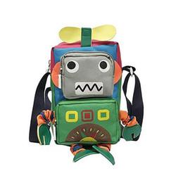 nette roboterkarikatur Rabatt Mode Neuartige Handtaschen Cartoon Roboter Modellierung Umhängetasche Nette Leinwand Frauen Messenger Outdoor Wandern Tasche
