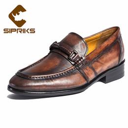 f5c307cd Zapatillas SIPRIKS para hombre a medida Goodyear Welted Diseñador Único  Patina Becerro Mocasines de cuero Jefe Retro Retro Mocasines para hombre  Zapatillas