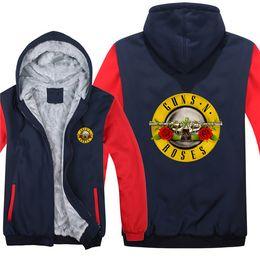 2019 musik-sweatshirts Winter Hoodies Rock Band Guns N Rosen Musik Hip Hop Männer Frauen warme Herbst Kleidung Sweatshirts Zipper Jacke Fleece Hoodie günstig musik-sweatshirts