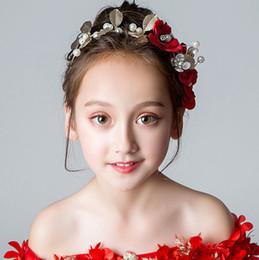 Schönheit Rote Blumen Kopfschmuckstücke für Mädchen Blume Kopfschmuckstücke für Mädchen Stirnbänder für Mädchen Hochzeit für Mädchen Tiara / Krone Kinderzubehör H324093 von Fabrikanten
