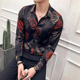dress matching black man Coupons - Top Quality Shirt Men Brand New 2019 Long Sleeve Casual Shirt Men All Match Slim Fit Party Dress Shirts Streetwear Blouse Homme