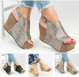 539f3a0efc Mujeres Peep Toe Gladiatar sandalias de plataforma de cuña plana zapatos  Summer Girls tacones gruesos Sexy partido hebilla sandalias zapatos tamaño  34-43 ...