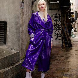 2020 chaqueta de cuero mujer s morado 2018 Otoño Moda Mujer PU Windbreaker Chaqueta brillante Mujer Abrigo largo Charol Plus Size Púrpura Cuero Outwear L1124 rebajas chaqueta de cuero mujer s morado
