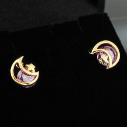 Orelha piercing studs estrela on-line-Hollow Out Moon Star Zircon Women Ear Stud Earrings Piercing Ear Studs for Women Wedding Engagement Party Gift