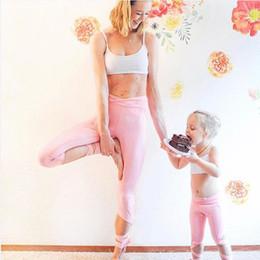 pantalon mère fille Promotion 2018 famille correspondant tenues fille mère enfants bébé fille yoga sport Tops Pantalon Bandage Set vêtements