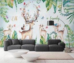 2019 chinesische wandschnitzereien Kinderzimmer Tapete 3D Tropical Leaf Deer Wall Mura Benutzerdefinierte Fototapeten Rolle Kinderzimmer Wasserdicht Kontaktpapier