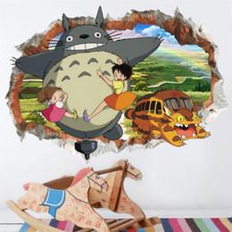 paesaggistica naturale Sconti Totoro Wallpapers Cartoon Sticker Decorazione della stanza dei bambini Broken Wall Poster Murale Art Kawaii 4ly F1