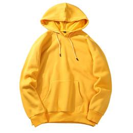 Желтый пуловер онлайн-2018 New  Hoodie Streetwear Hip Hop red blue yellow black Pullover Hoodies Mens Hoodies and Sweatshirts Size S-XXL
