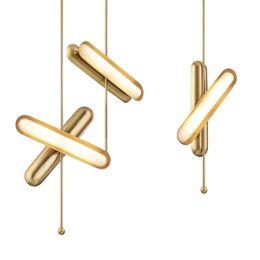 Minimalistische luxusbeleuchtung online-Postmoderne minimalistische Nachttisch-Pendelleuchten mit kreativem Licht und Luxusmetall-LED-Designermodellstudien-Hotelschlafzimmerlampen