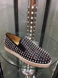 2019 sapatos de couro genuíno mulheres plataforma Red Bottom Loafers Sapatos Para Mulheres Dos Homens de Couro Genuíno Deslizamento Na Plataforma Sapatilhas Ocasionais Spikes Wedding Party Flats Design de Luxo Homens Sapatos sapatos de couro genuíno mulheres plataforma barato