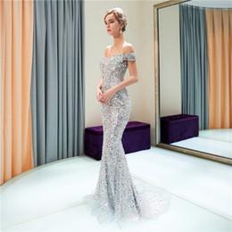 2898c54e8 Vestido de baile de luxo 2018 de um ombro frisado lantejoulas zíper pequeno  à direita vestidos de noite vestidos de beleza venda quente