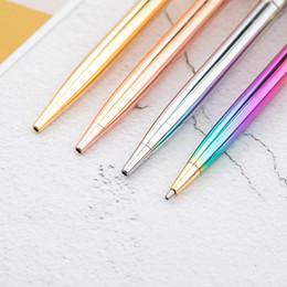 2019 penna a sfera coreana 1pc Sfere a sfera Novely Gradient Penne a sfera di lusso in metallo a sfera per i regali di scuola per bambini Forniture per ufficio in coreano penna a sfera coreana economici