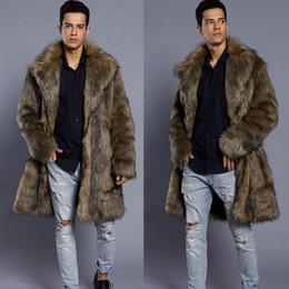 casacos de pele punk Desconto Brasão homens de pele do inverno da pele do falso Outwear On One Sides Brasão Overcoats Mens Punk Parka Jaquetas de couro longo roupas de marca Genuine