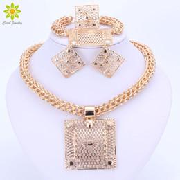 Gold-anhänger, die für frauen dubai online-Modeschmuck Sets Big Square Anhänger Halskette Ohrringe Armband Ring Dubai Gold Farbe Afrikanische Modeschmuck Sets Für Frauen