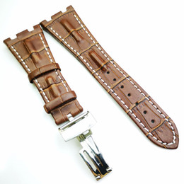leather strap stitched Coupons - 28mm   18mm Brown luxury high quality Calf Leather White Stitch Strap APAudemars Piguet Royal Oak Offshore
