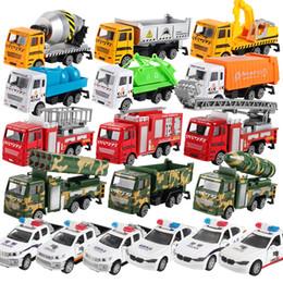 Modelo de recipiente on-line-Hot Cars Model Toys Carro Verde, Carro Da Polícia Misturador, Caminhão De Bombeiros, Caminhão De Cimento, Educacional Toy Car ABS Shell Simulação Modelo