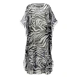 semi casual dresses Promo Codes - Womens Chiffon Zebra-Stripes Digital  Printing Bikini Cover Up 7db188c0e