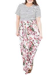 Kurzhülse reich taille online-YONYWA Plus Size Damen Maxikleid mit Blumenmuster Gestreifte Empire-Taille Kurzarm Lange Kleider mit Taschen