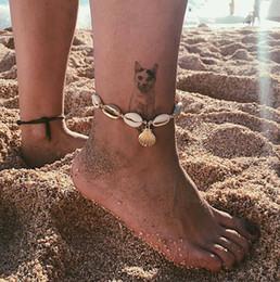 catena del braccialetto della caviglia dell'oro Sconti Shell cavigliera in metallo con cavigliera in metallo, cavigliera, cavigliere da spiaggia, piede, catene, gioielli da spiaggia, drop ship