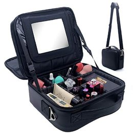 travel makeup brushes Promo Codes - Travel Makeup Bag Makeup Train Case 2 Layer Premium PU Leather Cosmetic Makeup Brush Organizer with Mirror Portable Storage Boxes Bag black