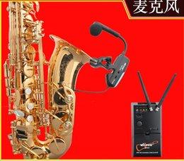 micpow microfone sem fio trigo saxofone clipe de microfone alimentado flauta guitarra instrumento musical alto-falante externo de