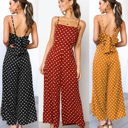 2021 женщины Women Summer Dot Sleeveless Backless Bowknot Jumpsuit Playsuit Party Wide Leg Long Trousers Romper