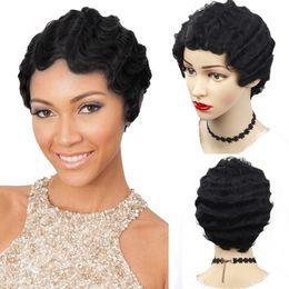 2020 perucas afro-americanas louras 8 polegadas dedo onda peruca sintética curto bob perucas para mulheres afro-americanos peruca cosplay 2 cores preto loiro desconto perucas afro-americanas louras
